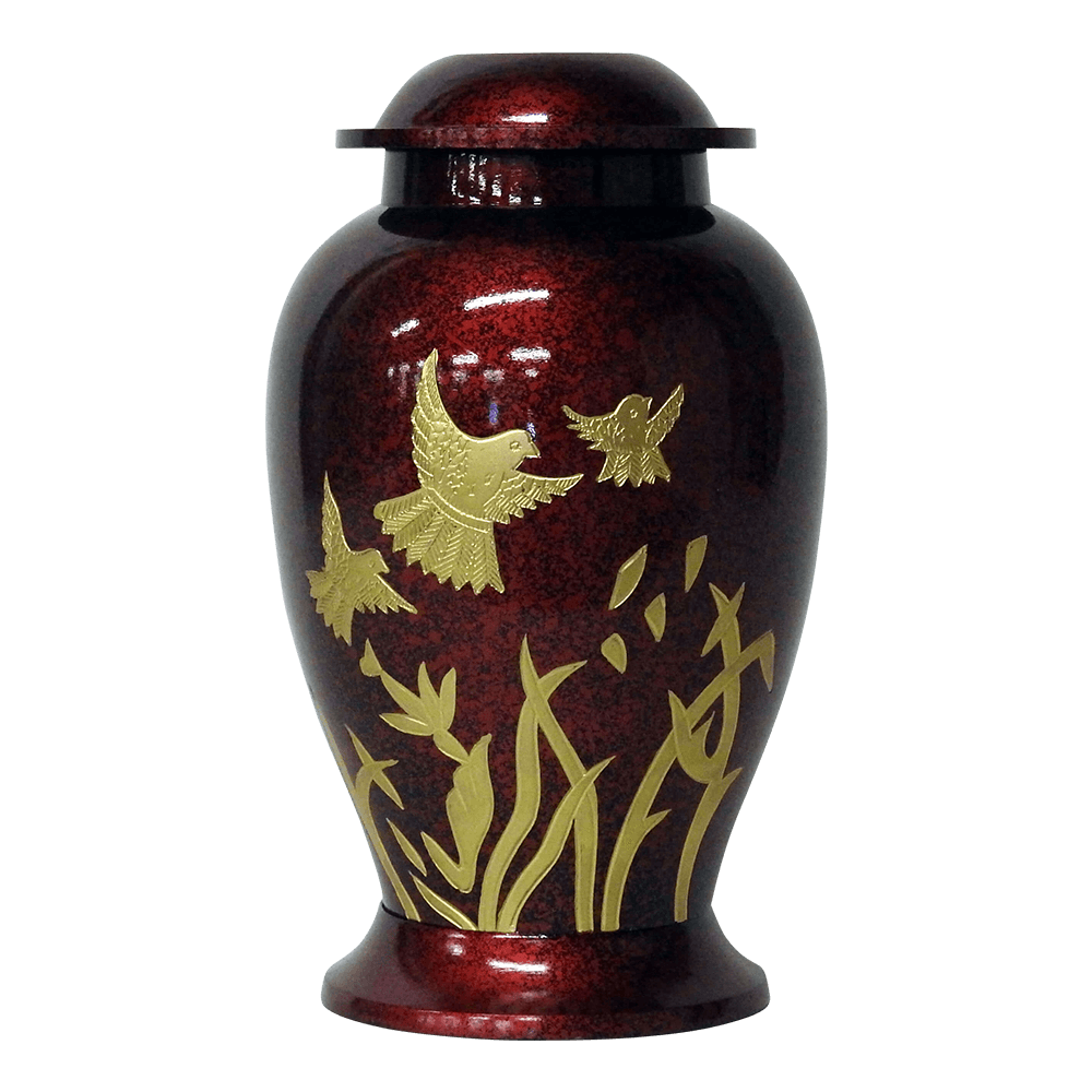 Safe Passage Urns red dove brass cremation memorial funeral urn for ashes