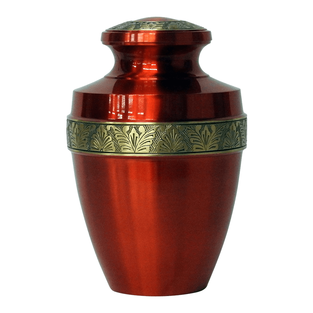 Safe Passage urns ruby red brass funeral memorial cremation urn for ashes