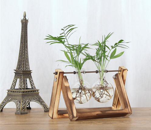 VINTAGE WOOD AND GLASS TERRARIUM PLANT HOLDERS