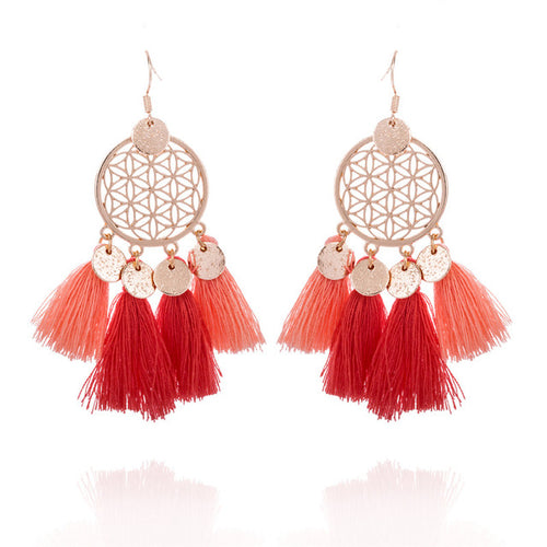 Coral Dreamcatcher dangle earrings