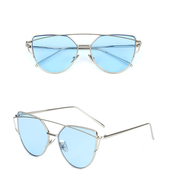 Blue mink cat eye sunglasses for women