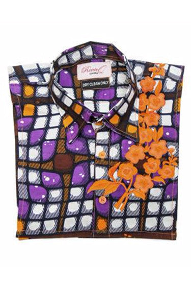 Embroidered Bib - Purple & Orange