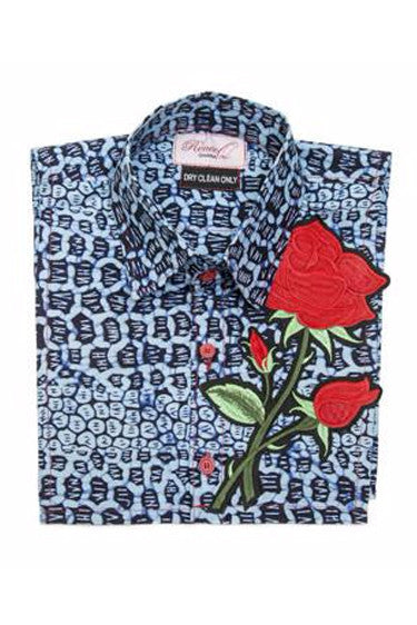 Embroidered Bib - Red Rose