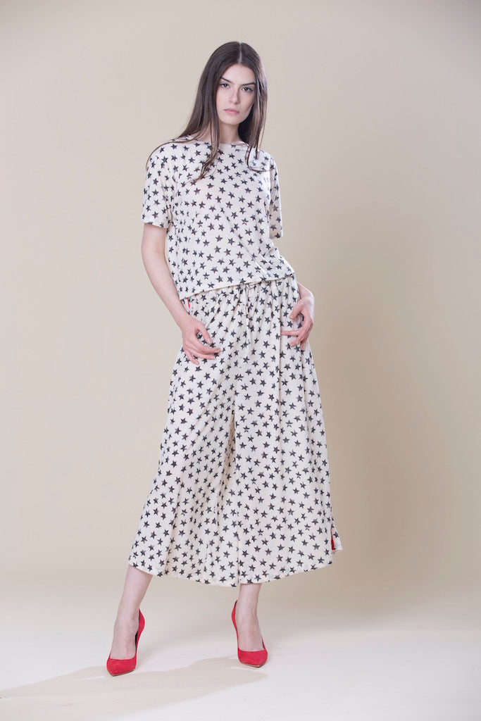 Short Sleeve Top And Wide Leg Pants
