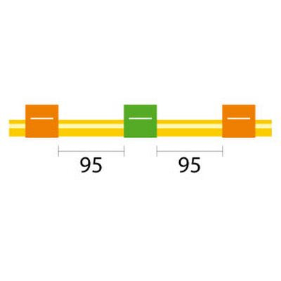 Contour Flared End Solva Tubing - 3 Tag, 95mm orange/green - ID: 0.38 mm