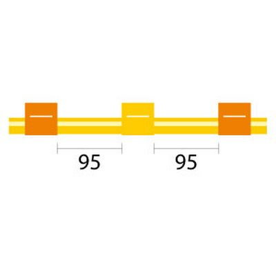 Contour Flared End Solva Tubing - 3 Tag, 95mm orange/yellow - ID: 0.51 mm