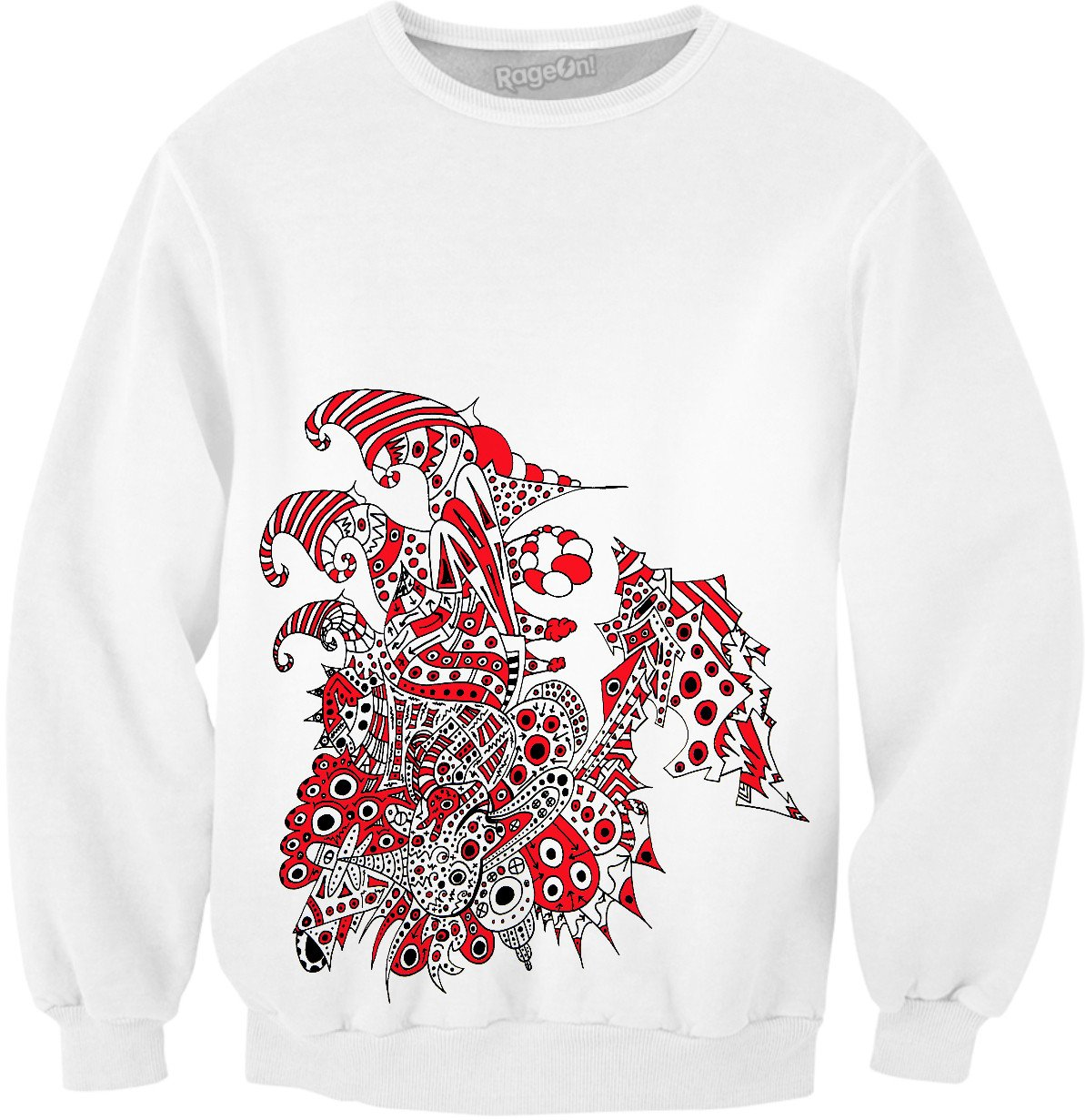 Alien 57 White & Red Sweatshirt - TShirtsRUS.co