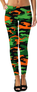 """Orange & Green Camo"" Leggings"