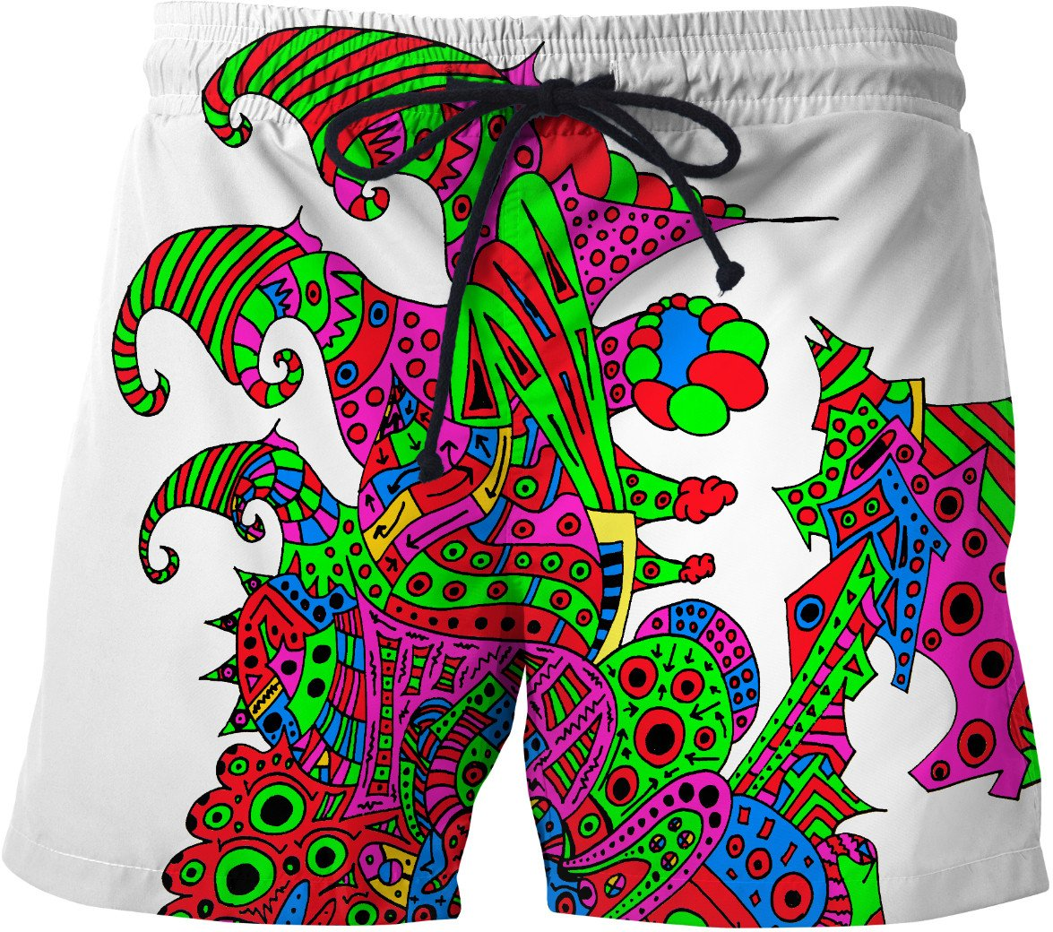 Alien 57 Blue Red Green Pink Blue & Orange Swim Shorts - TShirtsRUS.co