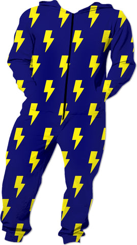Yellow Bolts on Blue Onesie