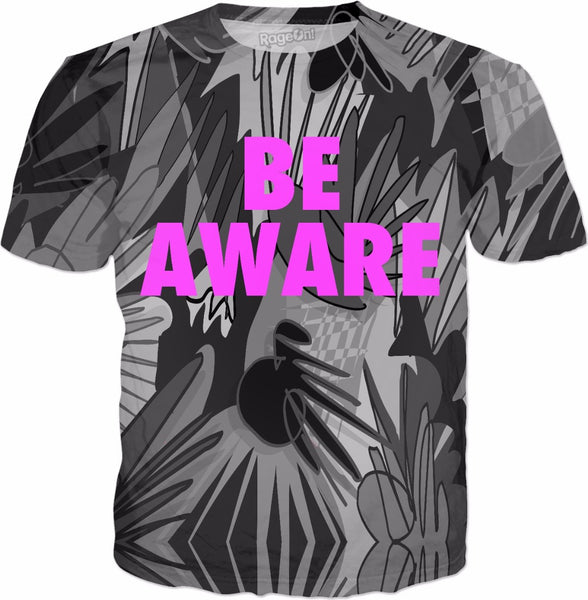 Be Aware Grey Breast Cancer Awareness T-Shirt - TShirtsRUS.co