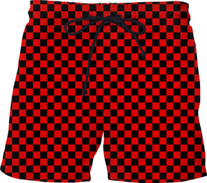 Red & Black Checkered Swim Shorts