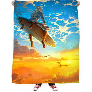 Surf The Sky Fleece Blanket Shower Curtain Bandana