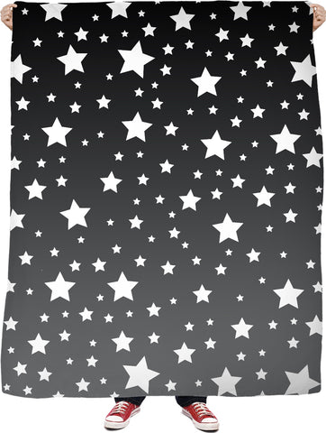 White Stars Grey Ombre Blanket