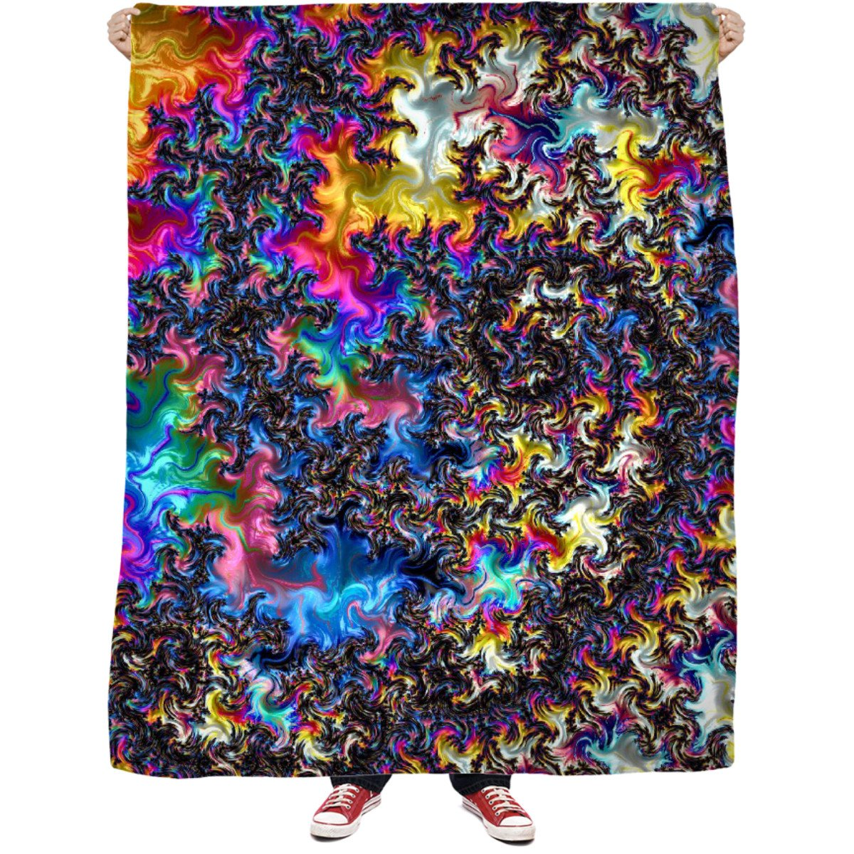 Fractal Acid Fleece Blanket - TShirtsRUS.co