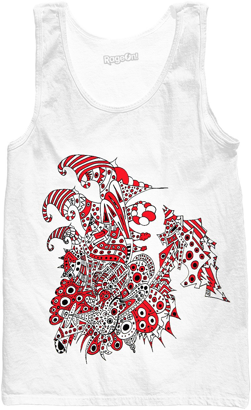 Alien 57 White & Red Tank Top - TShirtsRUS.co