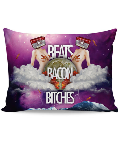 Beats Bacon Bitches Pillow Case - TShirtsRUS.co