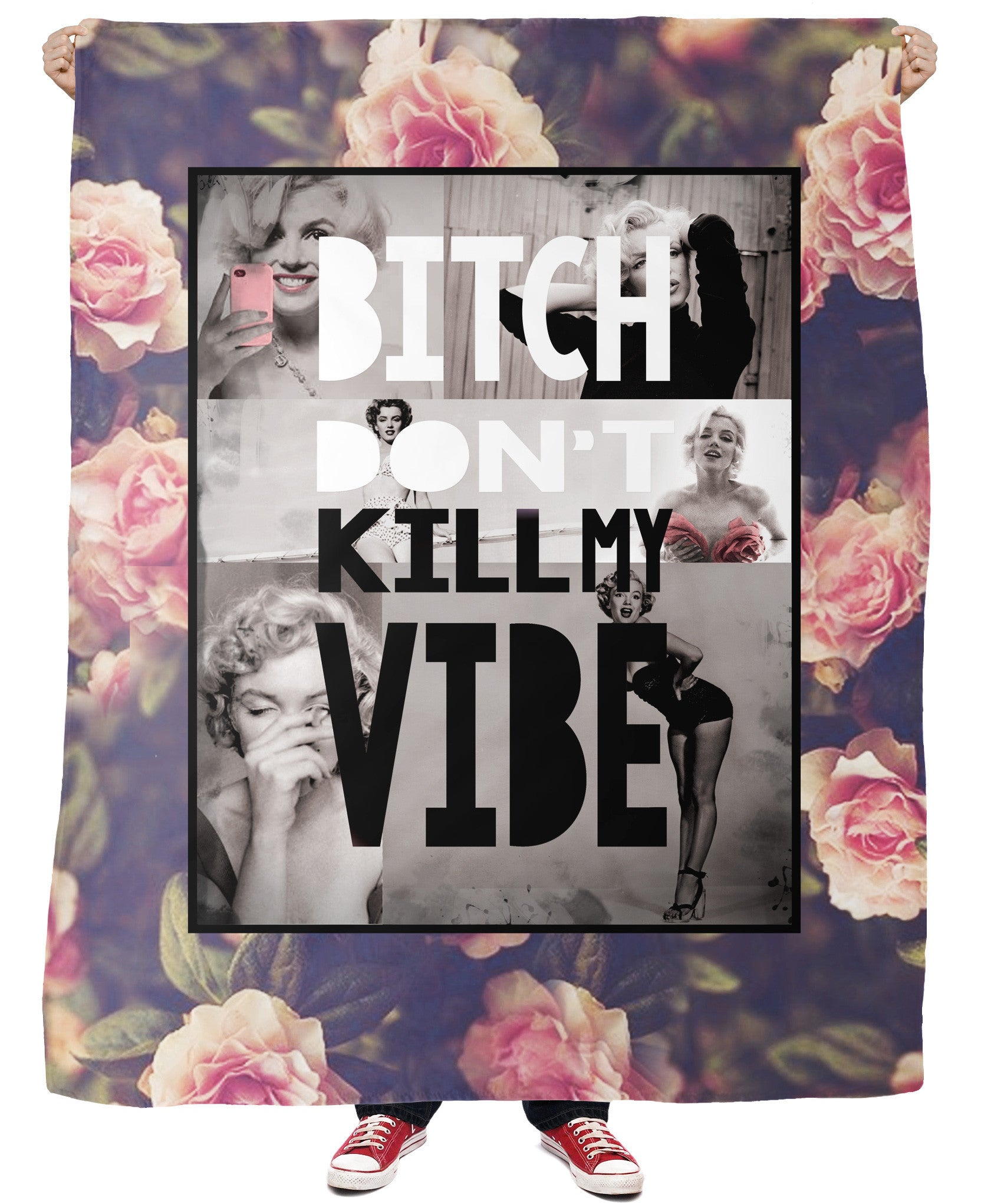 Bitch Don't Kill My Vibe Fleece Blanket - TShirtsRUS.co