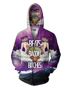 Beats Bacon Bitches Zip-up Hoodie - TShirtsRUS.co