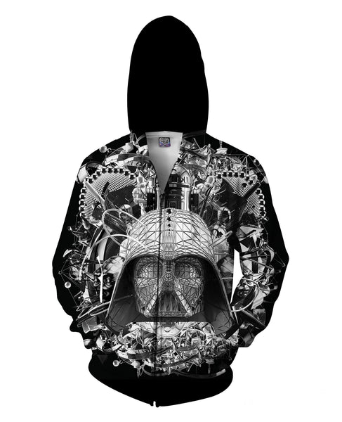 Digital Empire B&W Zip-Up Hoodie - TShirtsRUS.co