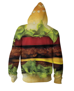 Burger Zip-Up Hoodie - TShirtsRUS.co