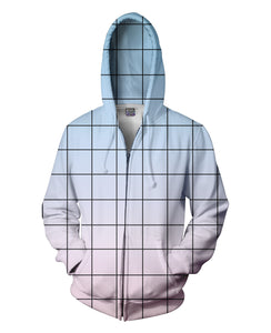 Blue Pink Grid Zip-Up Hoodie - TShirtsRUS.co