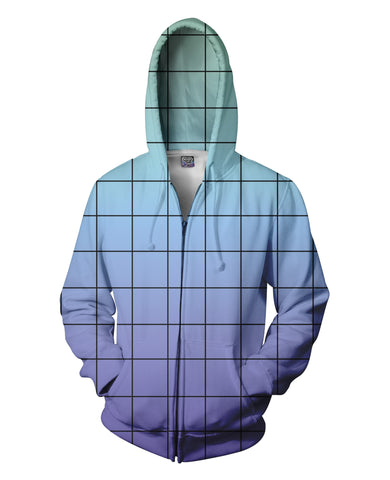 Blue Purple Grid Zip-Up Hoodie - TShirtsRUS.co