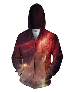 Crimson Nebula Zip-Up Hoodie - TShirtsRUS.co