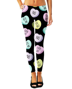 Mean Candy Hearts Leggings - TShirtsRUS.co