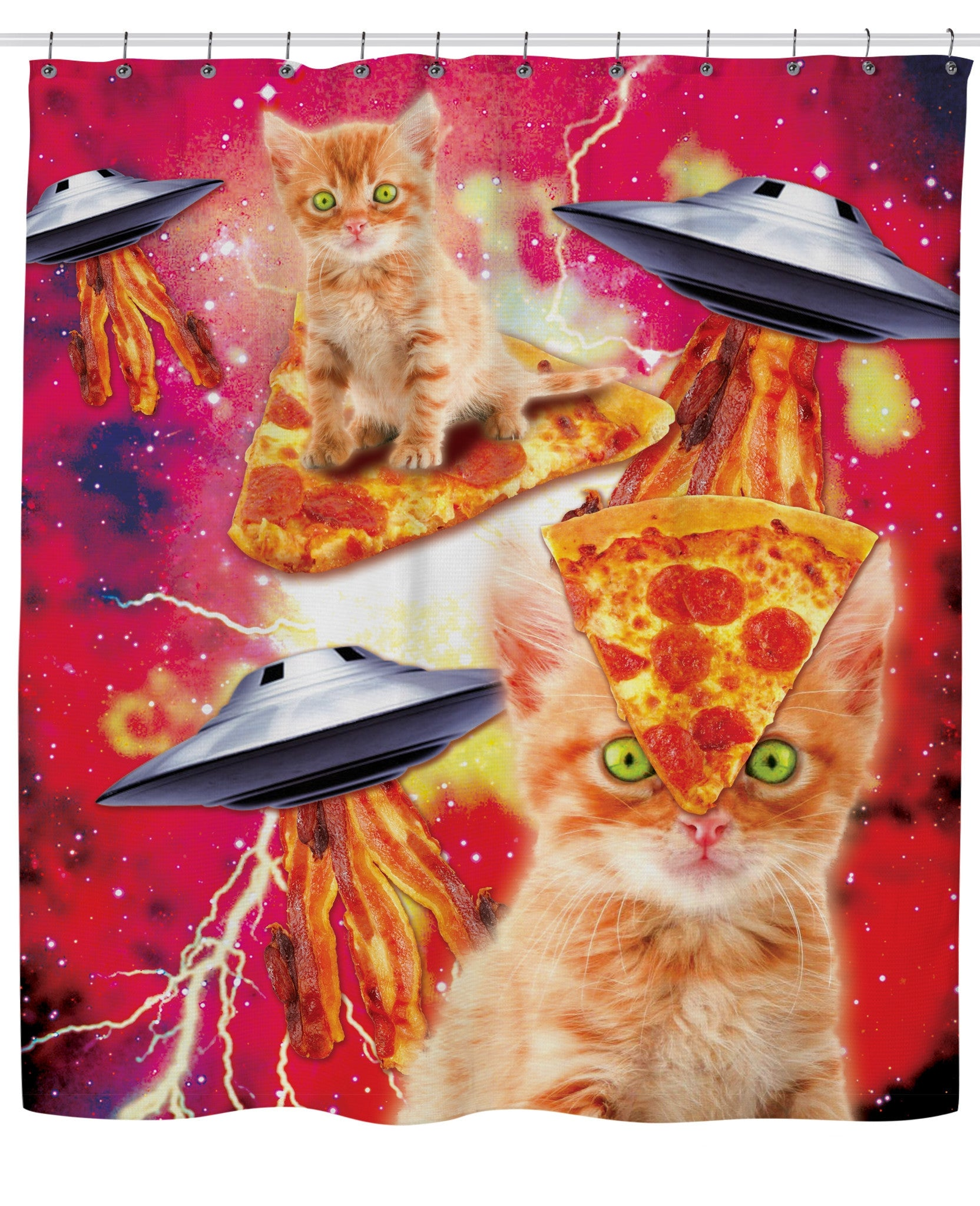Bacon Pizza Space Cat Shower Curtain - TShirtsRUS.co