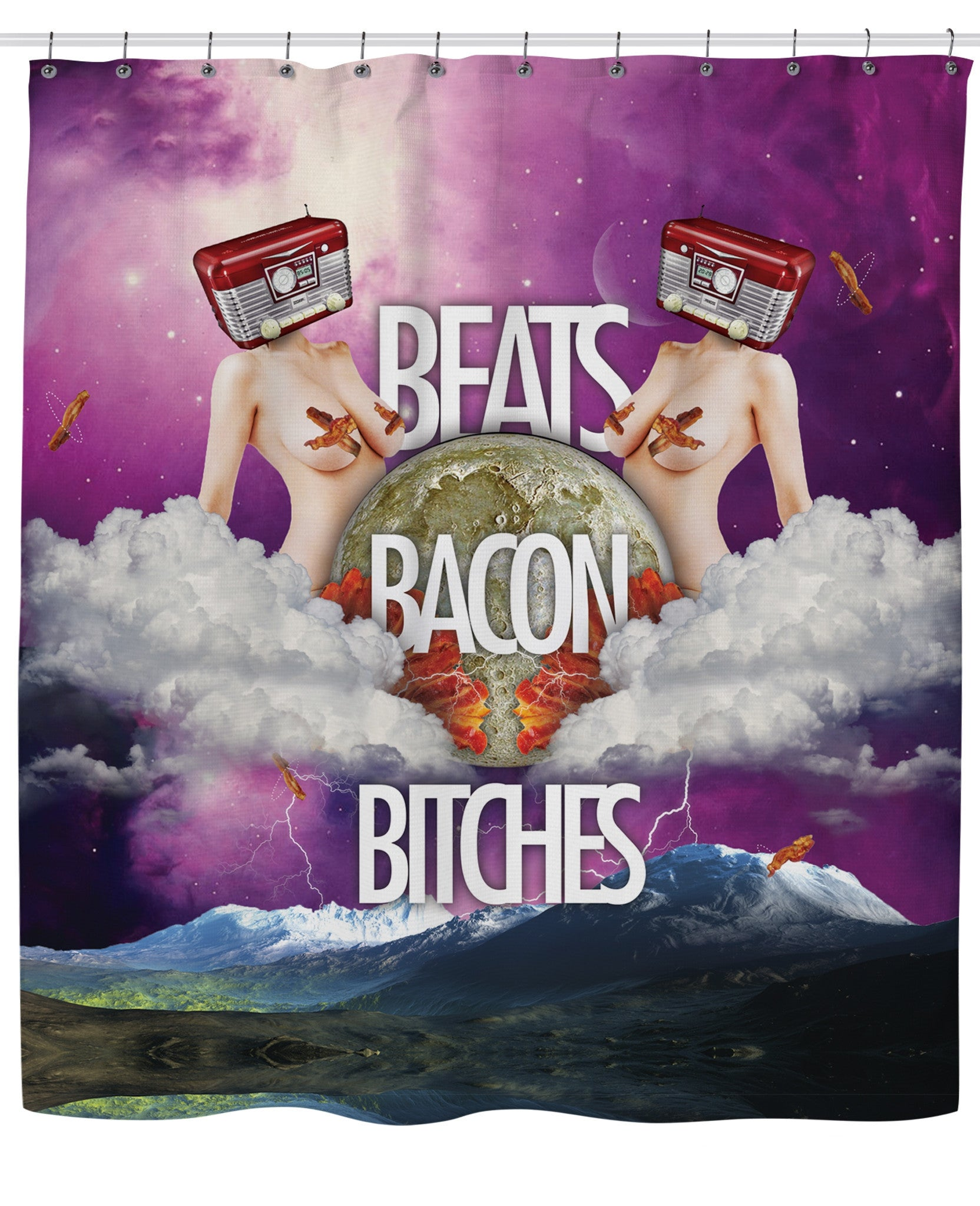 Beats Bacon Bitches Shower Curtain - TShirtsRUS.co