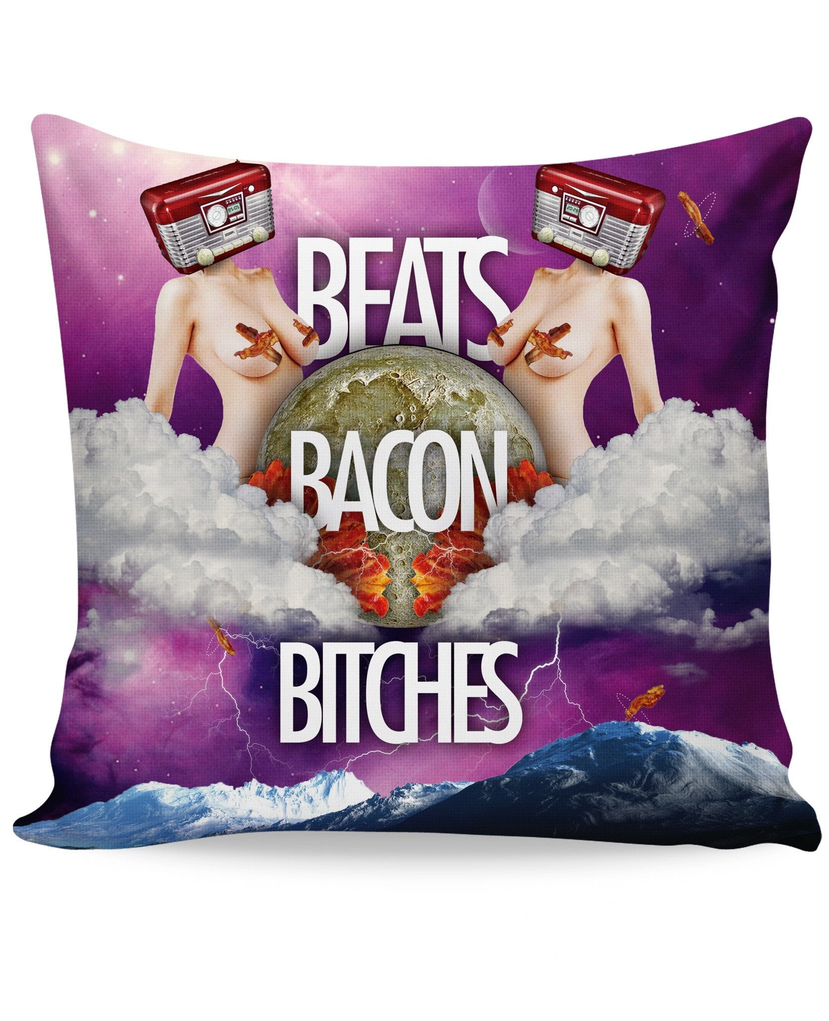 Beats Bacon Bitches Couch Pillow - TShirtsRUS.co