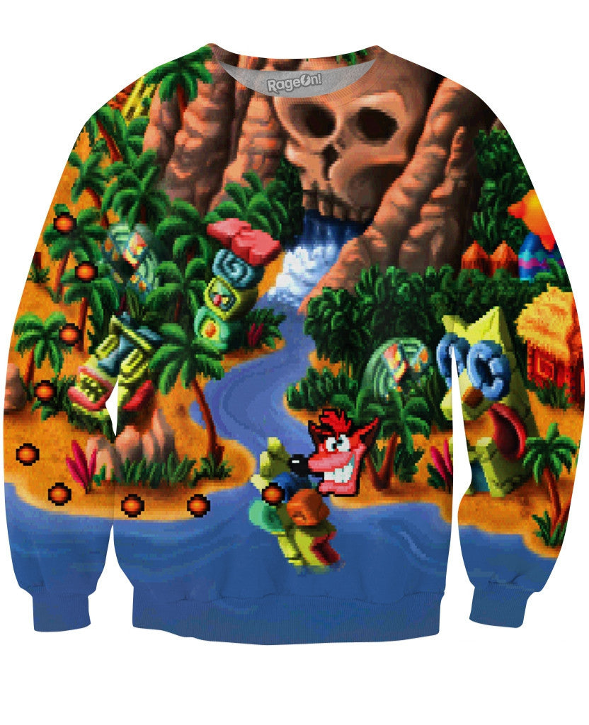 Crash Bandicoot Map Crewneck Sweatshirt - TShirtsRUS.co