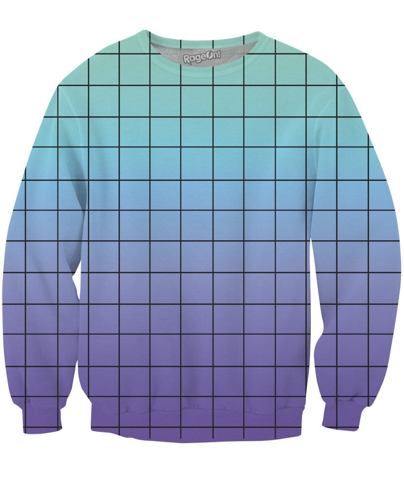 Blue Purple Grid Crewneck Sweatshirt - TShirtsRUS.co