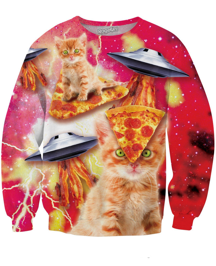 Bacon Pizza Space Cat Sweatshirt - TShirtsRUS.co