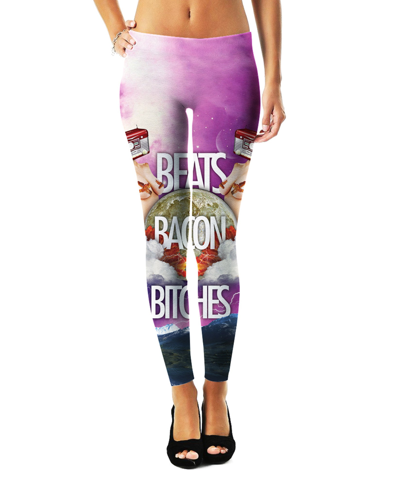 Beats Bacon Bitches Leggings - TShirtsRUS.co