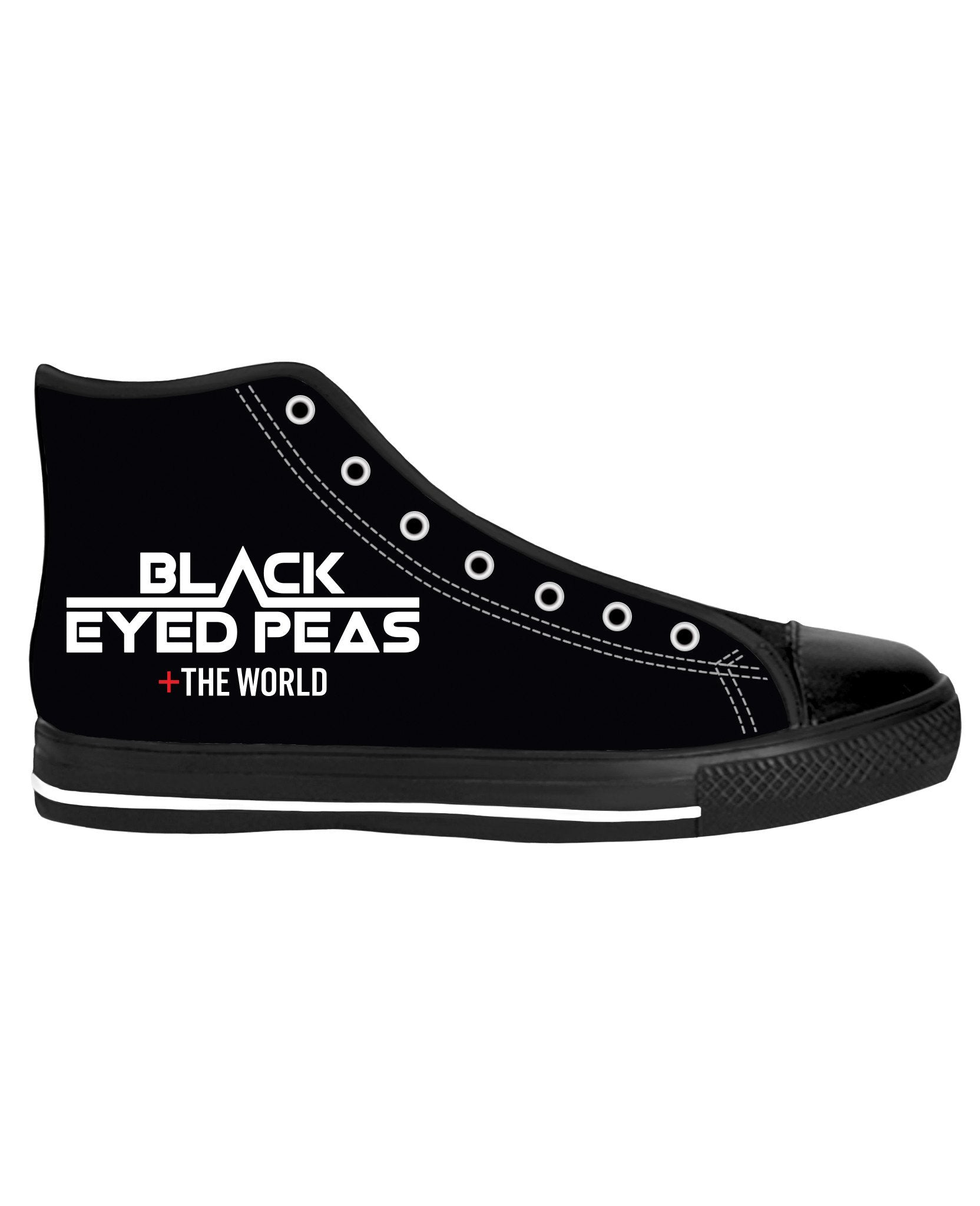Black Eyed Pease Where's the Love Black Sole High Tops - TShirtsRUS.co