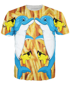 Dolphins and Fries T-Shirt - TShirtsRUS.co