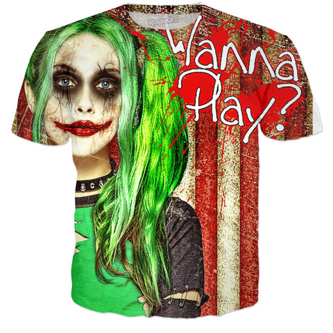 Halloween Girl Joker 2 - Wanna Play? Tee/Bandana