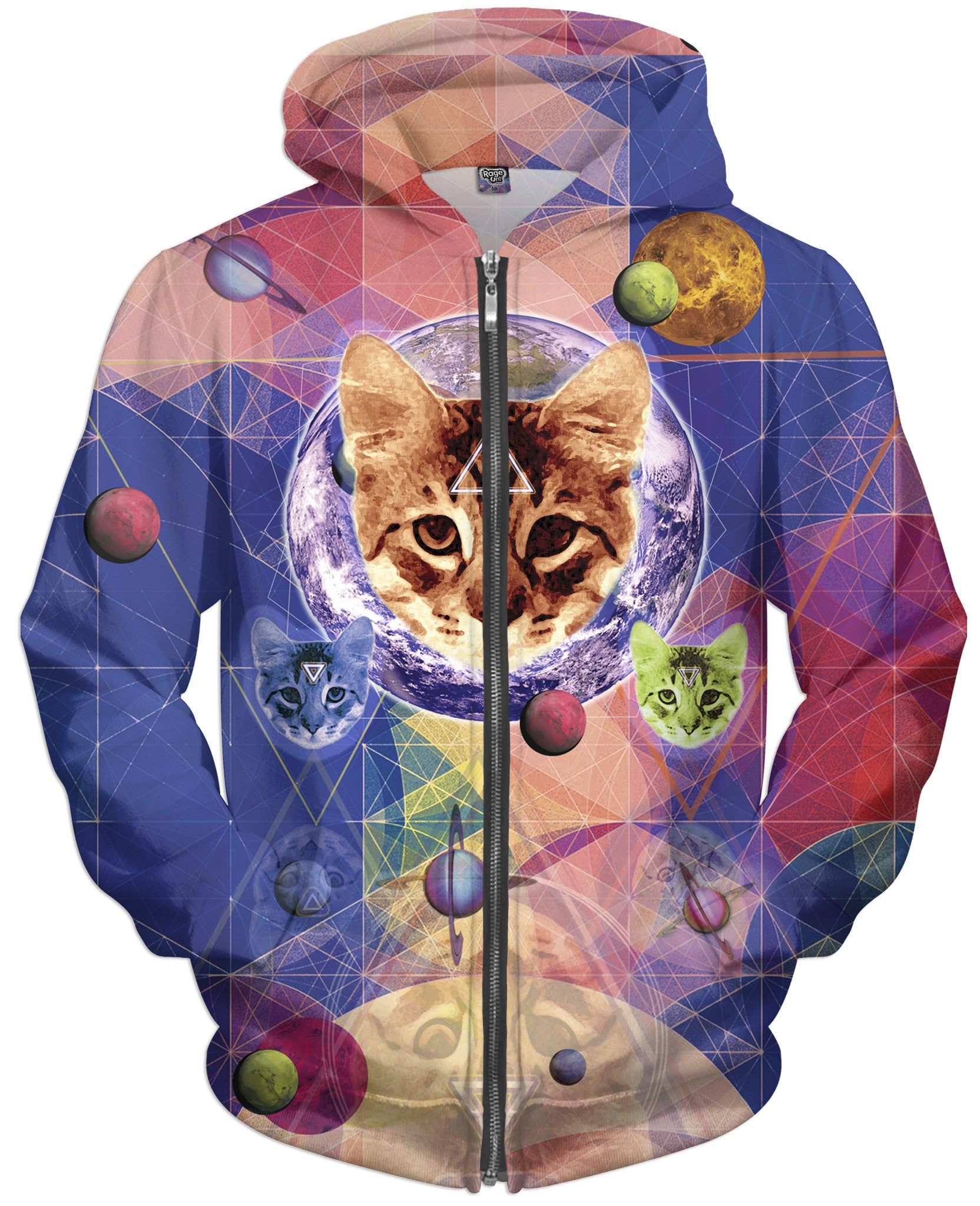 Geo Cat Zip-Up Hoodie - TShirtsRUS.co