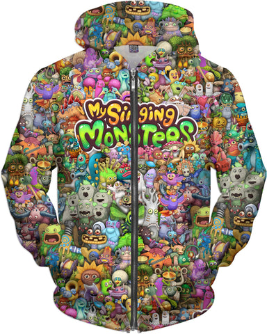 My Singing Monsters Character Collage Zip-Up Hoodie - TShirtsRUS.co