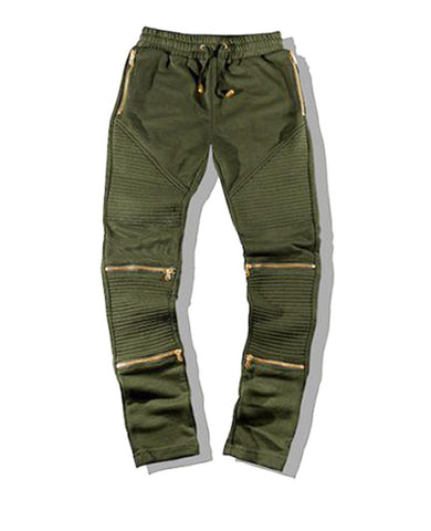 Gold Zipper Biker Sweatpants - TShirtsRUS.co