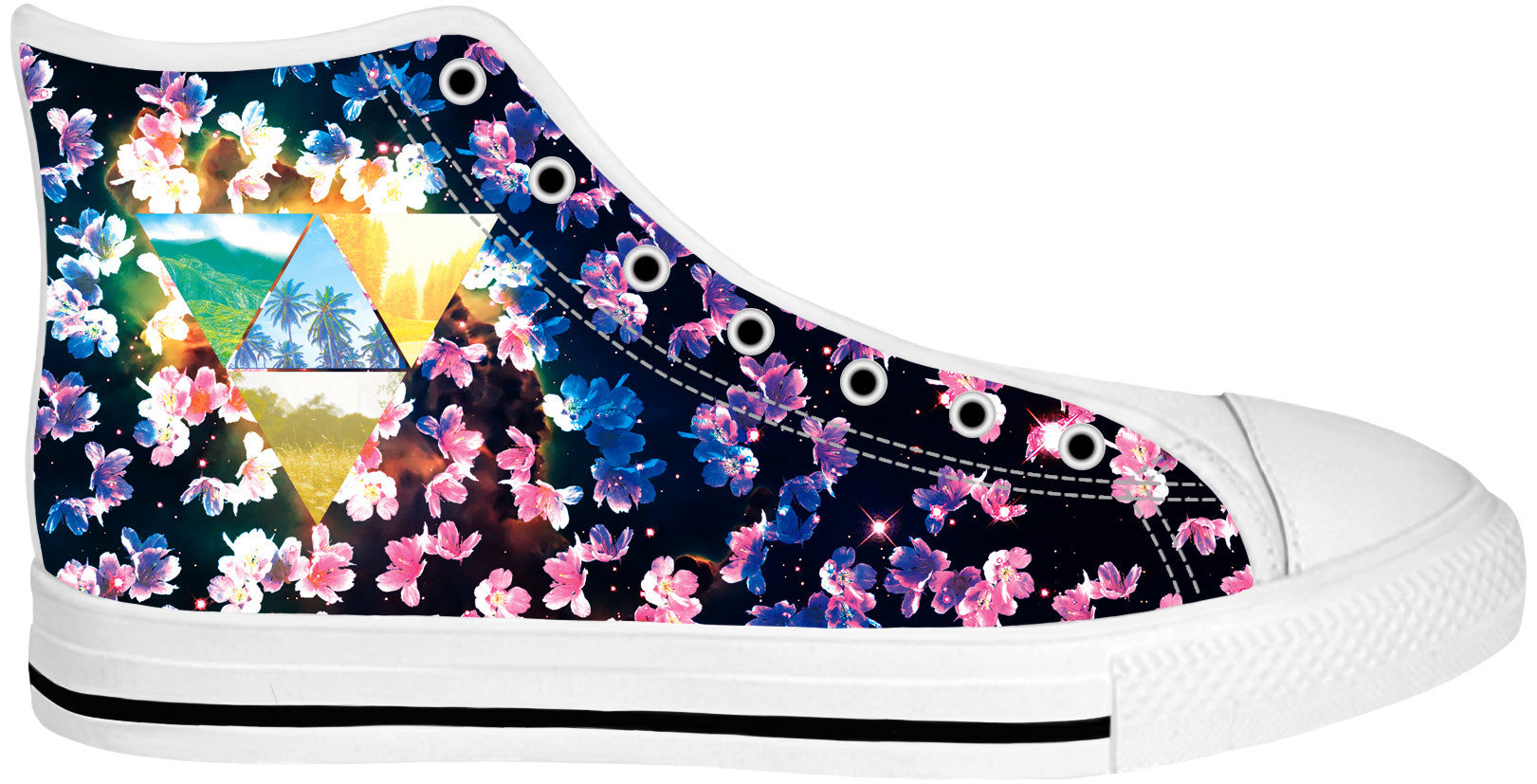 Cherry Blossom White Sole High Tops - TShirtsRUS.co