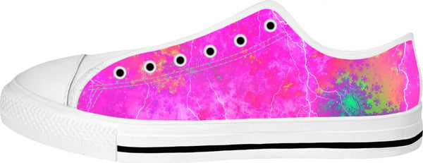 Blue And Pink Prophecy White Low Tops - TShirtsRUS.co