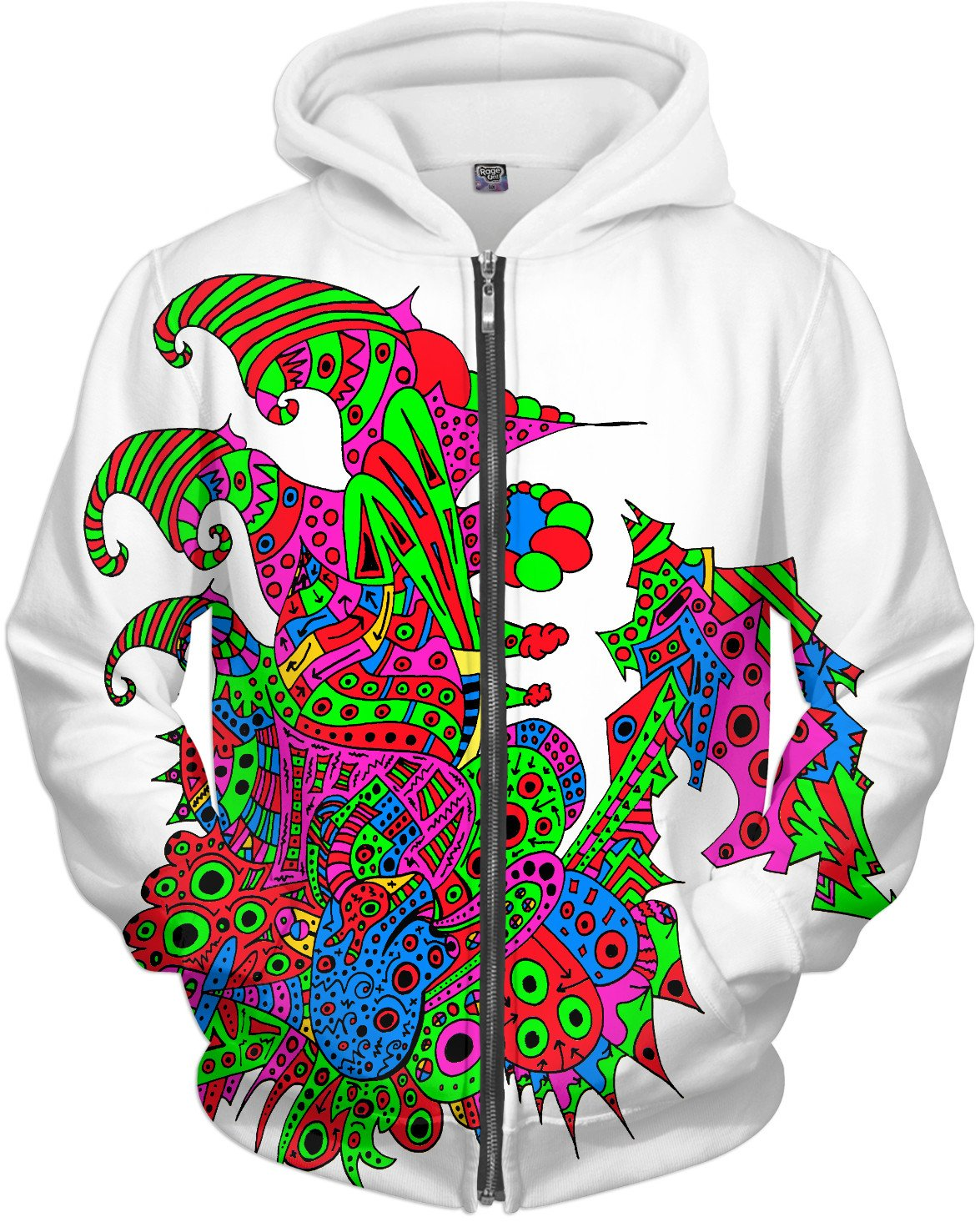 Alien 57 Blue Red Green Pink Blue & Orange Hoodie - TShirtsRUS.co