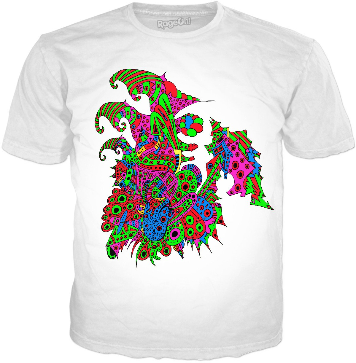 Alien 57 Blue Red Green Pink Blue & Orange T-Shirt - TShirtsRUS.co