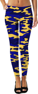 Blue & Yellow Camo Leggings - TShirtsRUS.co