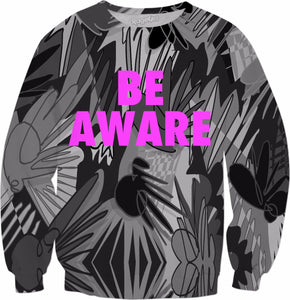 Be Aware Grey Breast Cancer Awareness Crewneck Sweatshirt - TShirtsRUS.co