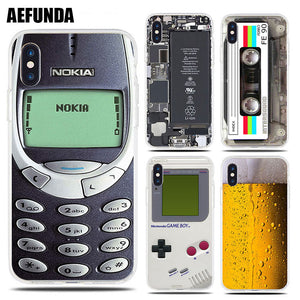 Soft Cases , Beer, Gameboy, Phone Battery, Clear Silicone Cover for iPhone 7, 8 Plus, X, 6, 6S, 5, 5S, SE