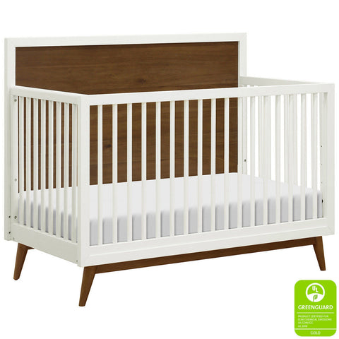 BABYLETTO Palma Mid-Century 4-in-1 Crib - Warm White/Natural Walnut